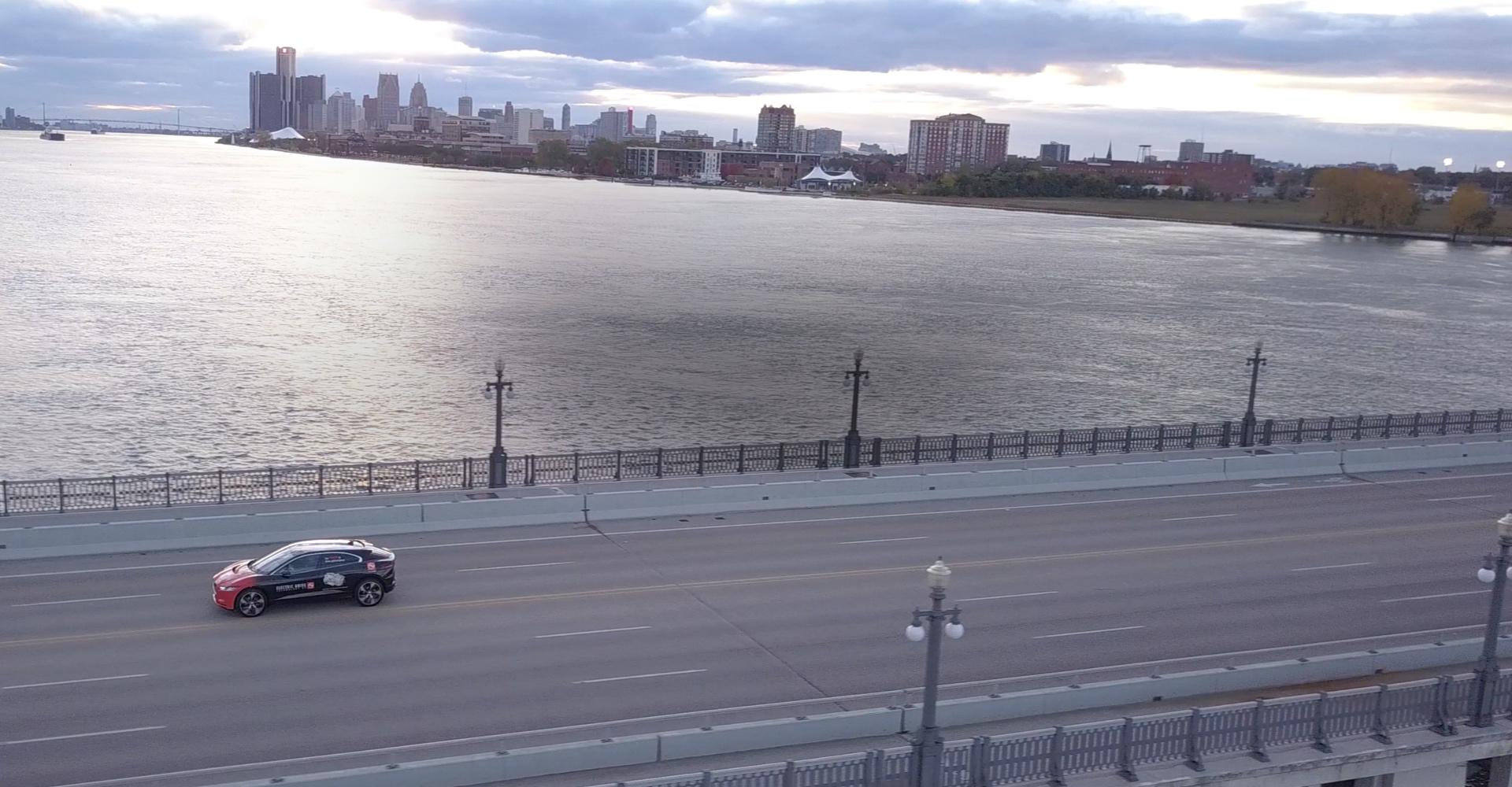 AAM vehicle going across in Detroit