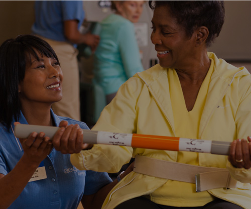 A nurse and patient working together
