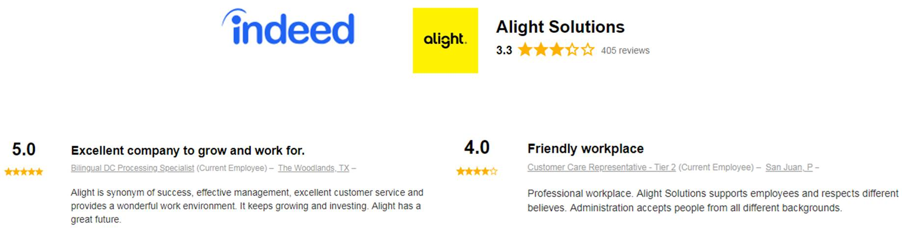 Alight reviews on Indeed