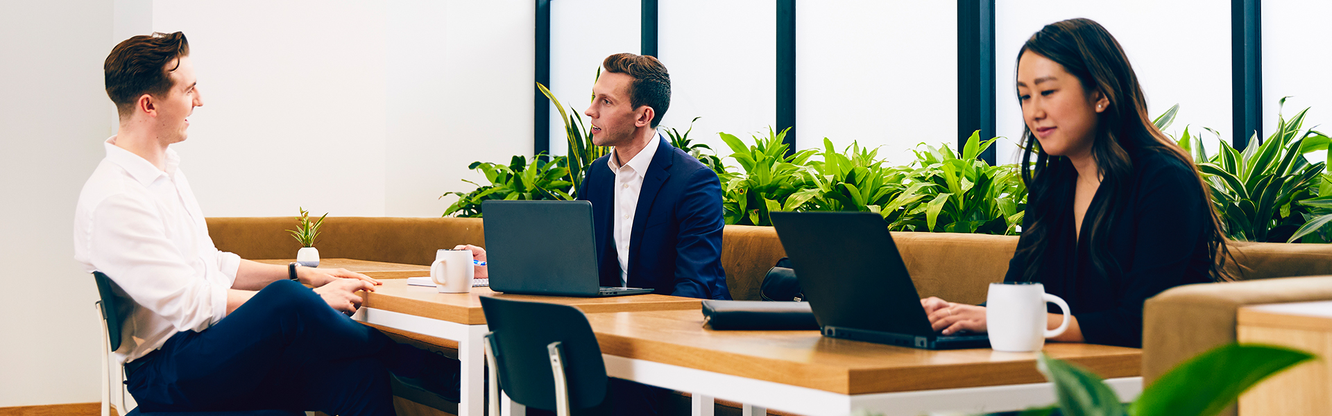 Employees working in an open office.