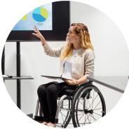 Woman in wheelchair giving a presentation