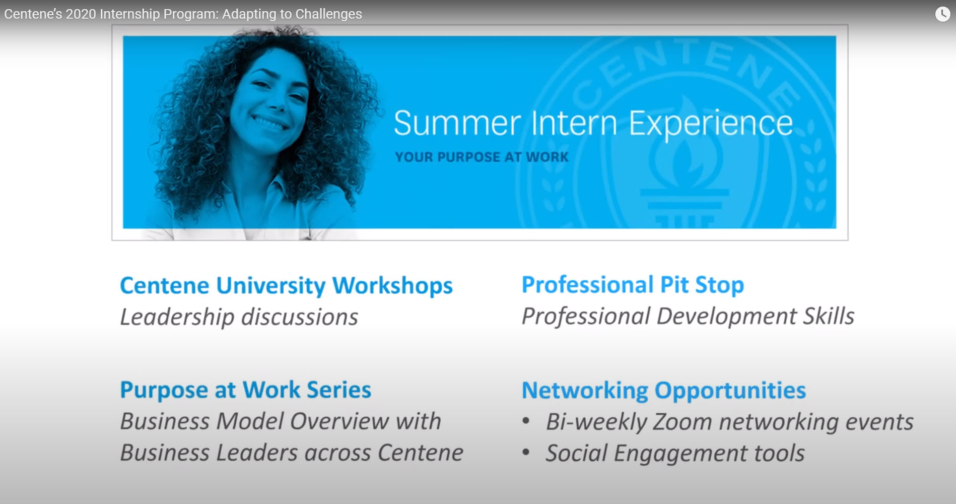 Summer Intern Experience, your purpose at work