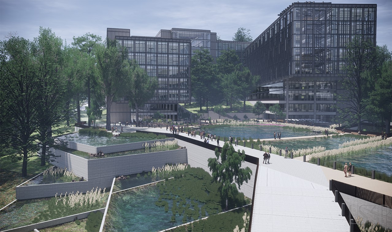 Rendering of Outdoor view of University Research Park Innovation Center