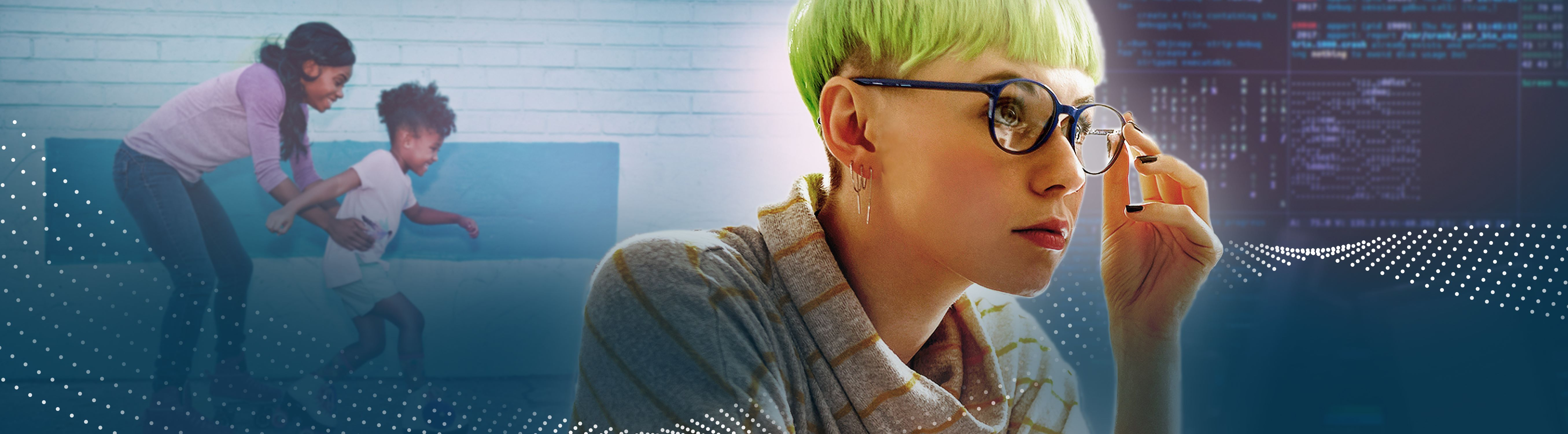 Female professional with green hair and glasses