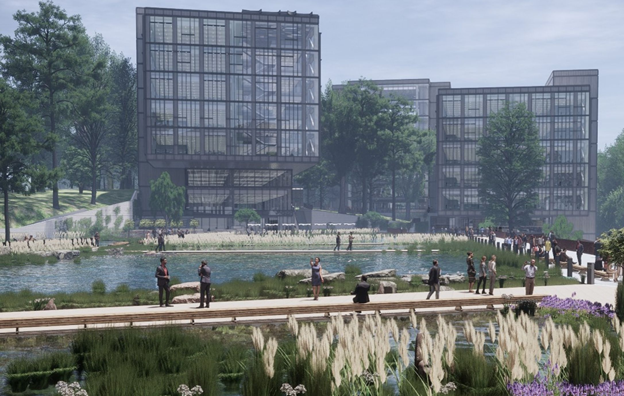 Centene's Innovations Center outdoor view of beautiful glass building overlooking pond