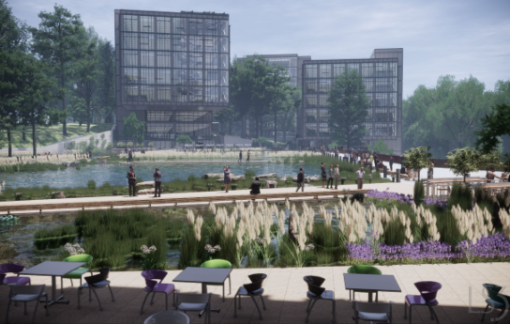 Outdoor rendering of Centene Innovation Center with people enjoying the trails and beautiful pond