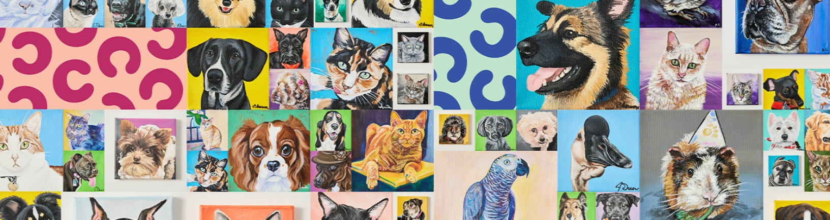 A banner image showing an assortment of painted pet portraits