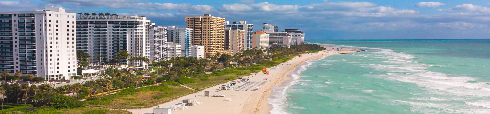 Dania Beach, FL skyline and beach