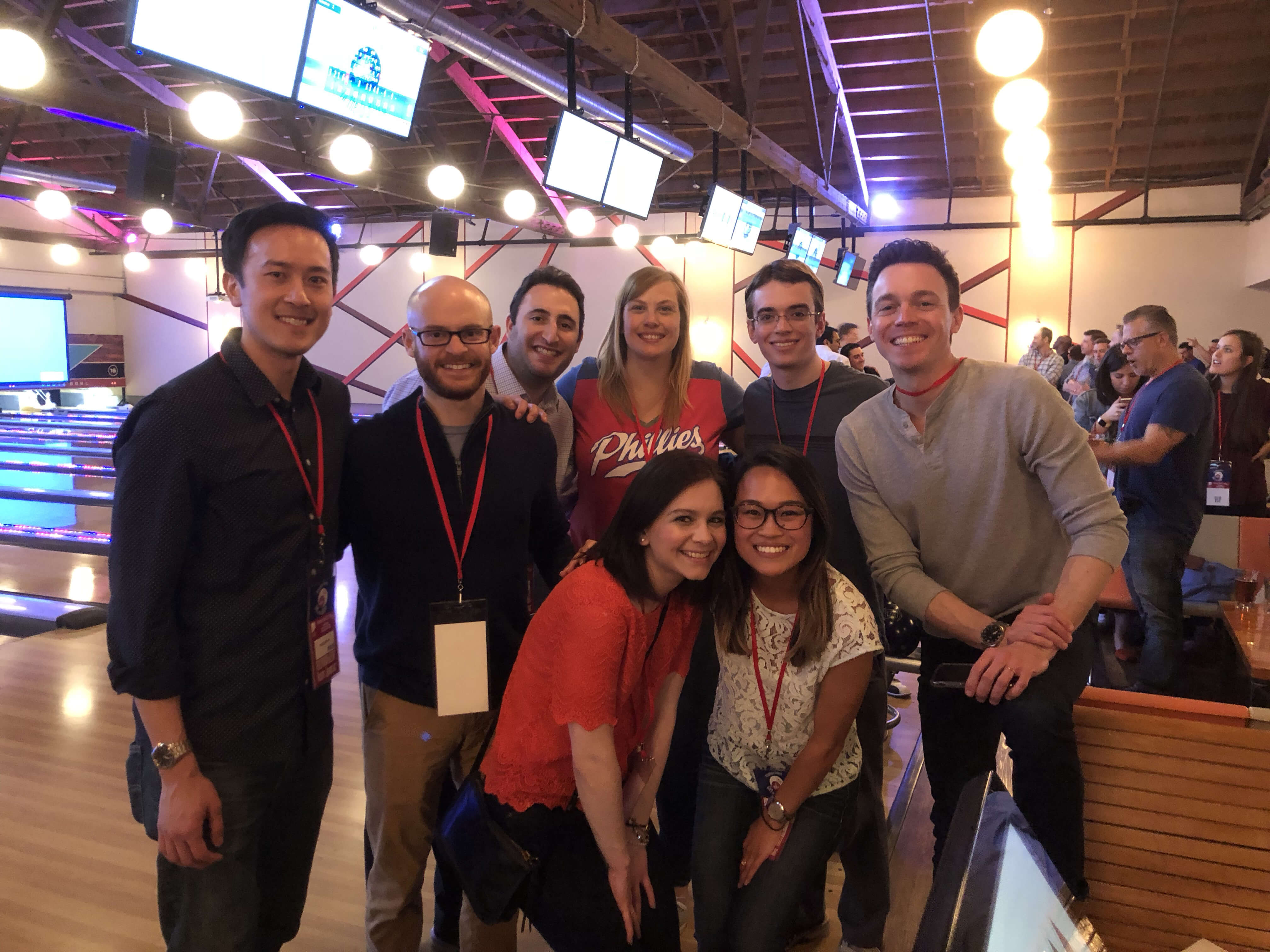 FDP associates posing at a program bowling event