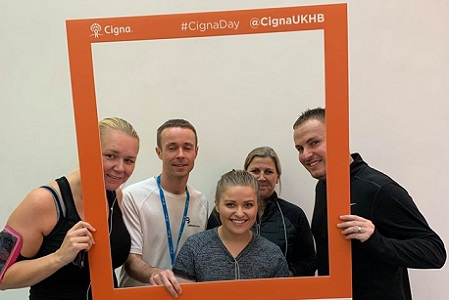 Cigna UK employees posing together during #CignaDay