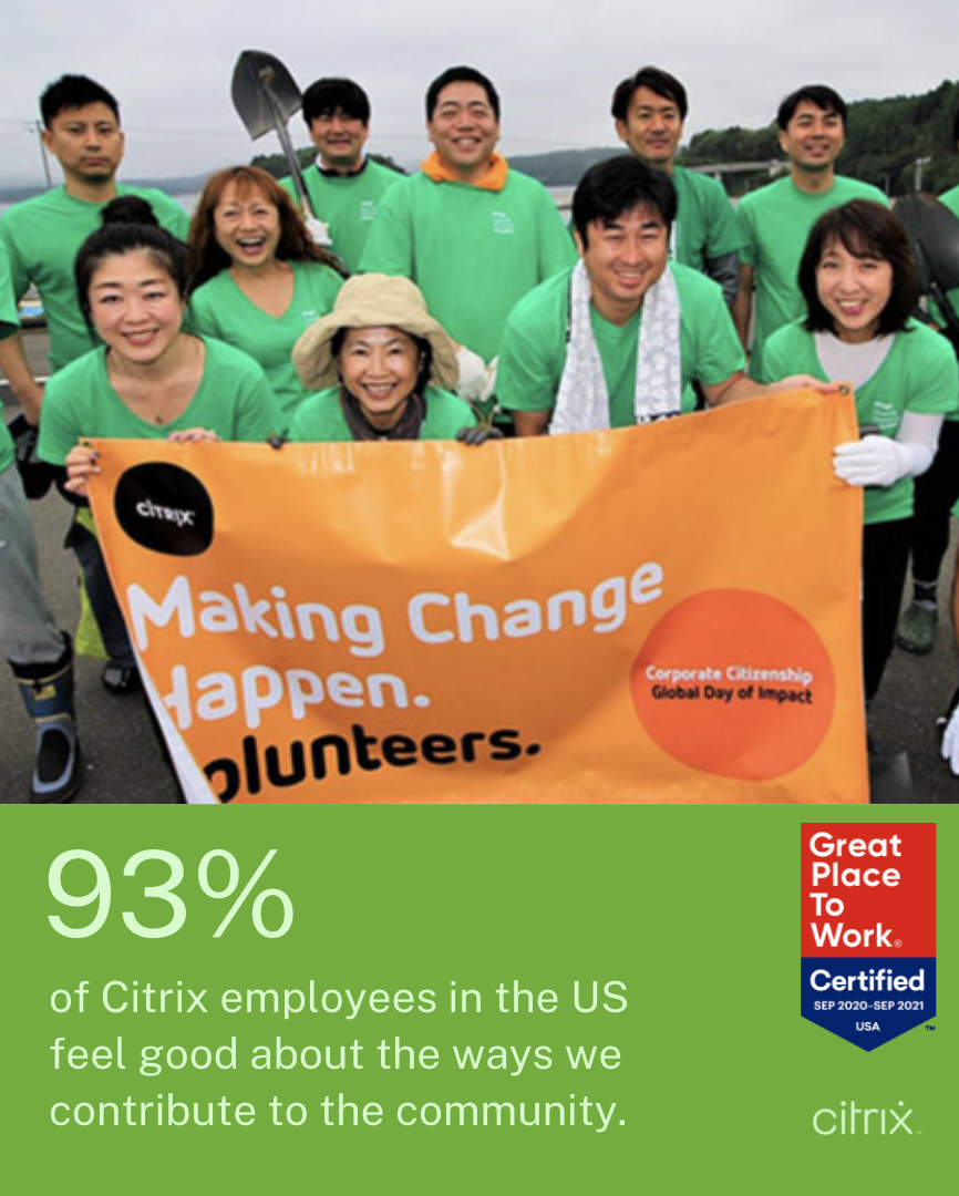 93% of Citrix employees in the US feel good about the ways we contribute to the community.