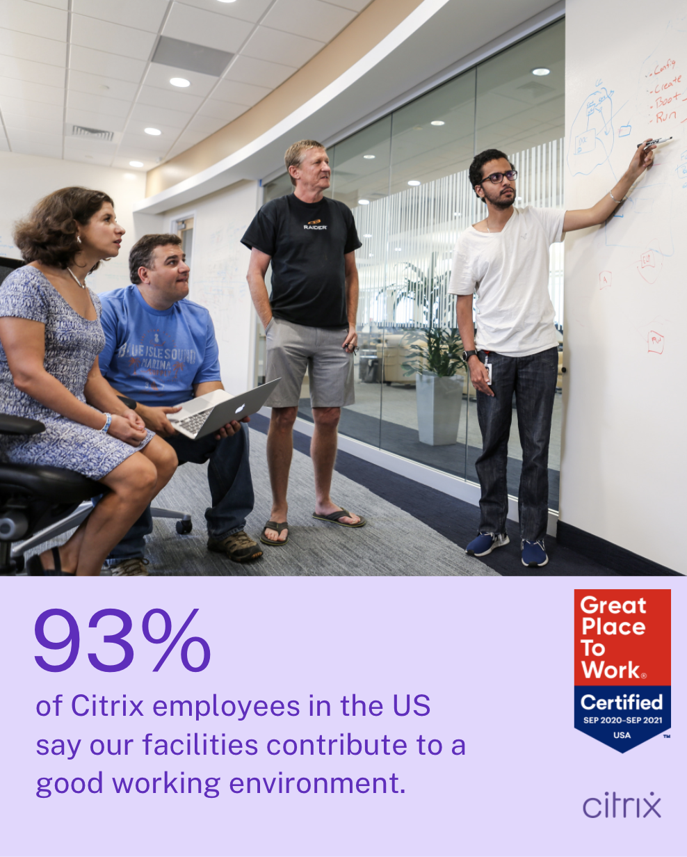 93% of Citrix employees in the US say our facilities contribute to a good working environment.