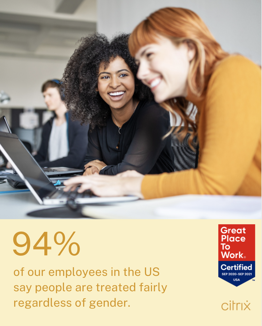 94% of our employees in the US say people are treated fairly regardless of gender.