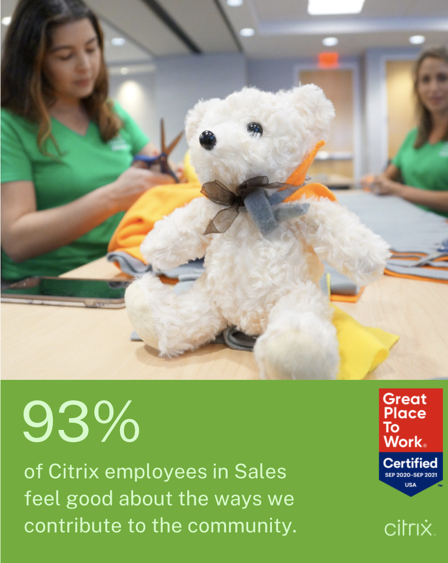 93% of our employees in Sales feel good about the ways we contribute to the community.