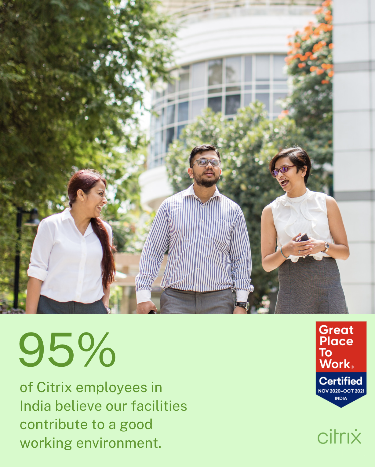95% of Citrix employees in India believe our facilities contribute to a good working environment