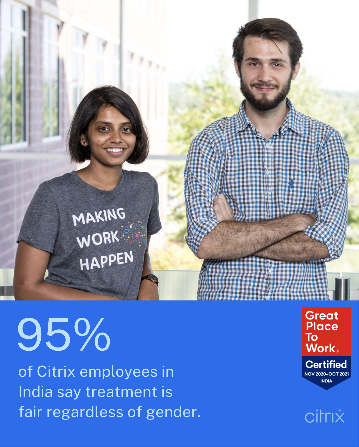 95% of Citrix employees in India say treatment is fair regardless of gender