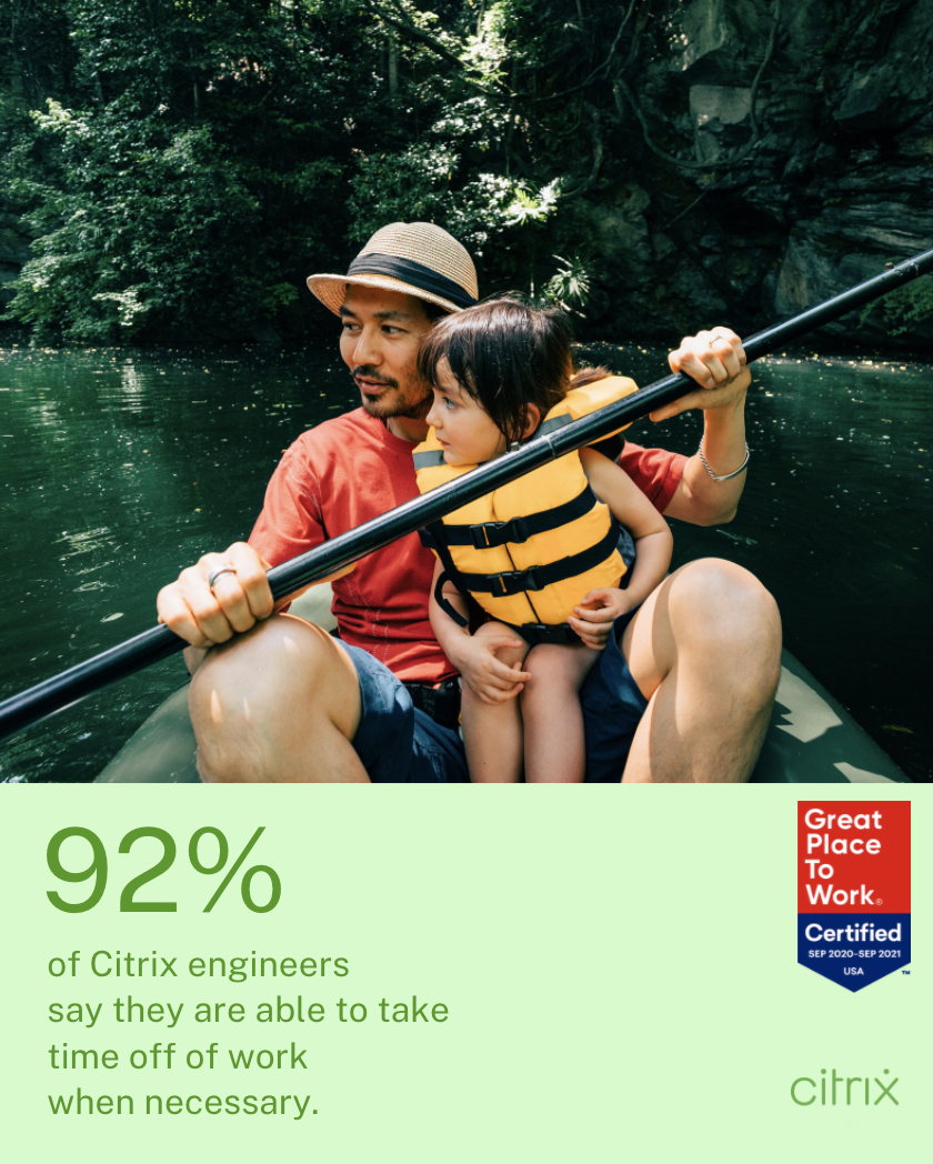 92% of Citrix engineers say they are able to take time off of work when necessary.