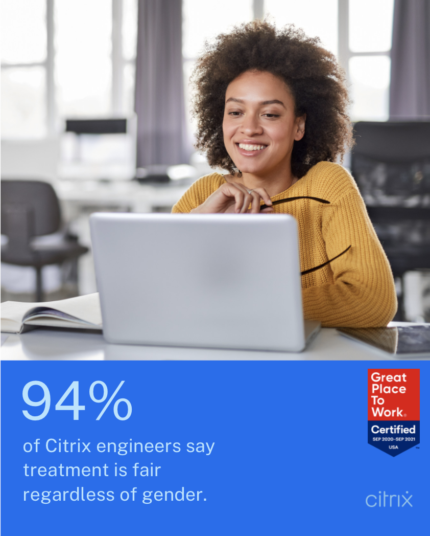 94% of Citrix engineers say people are treated fairly regardless of gender.