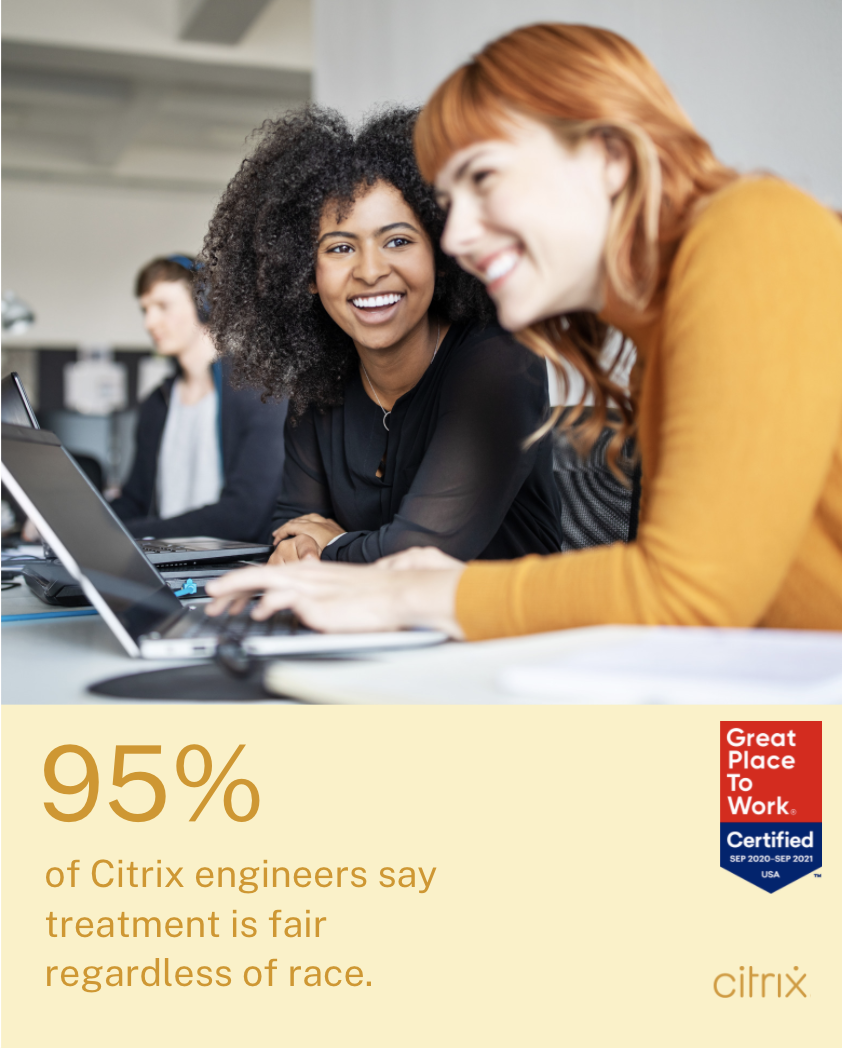95% of Citrix engineers say treatment is fair regardless of race.