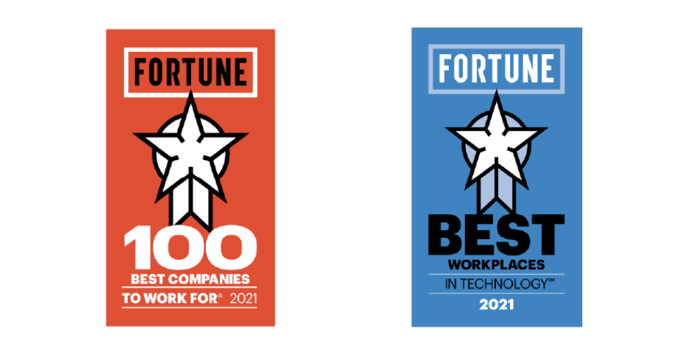 Awards for being a Best Workplace to Work For, and Best Workplace in Technology