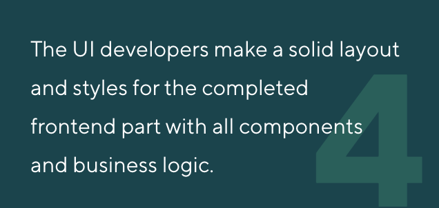 The UI developers make a solid layout and styles for the completed frontend part with all components and business logic.