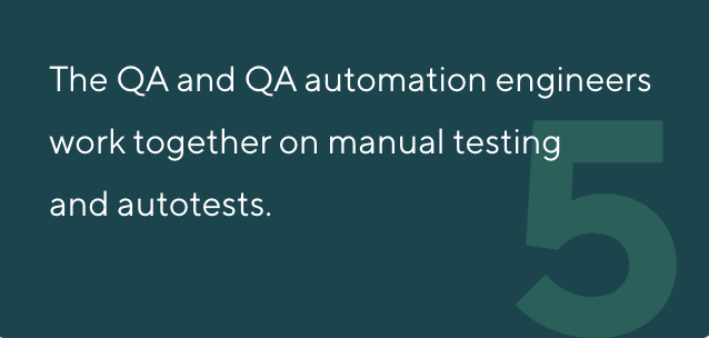 The QA and QA automation engineers work together on manual testing and autotests.