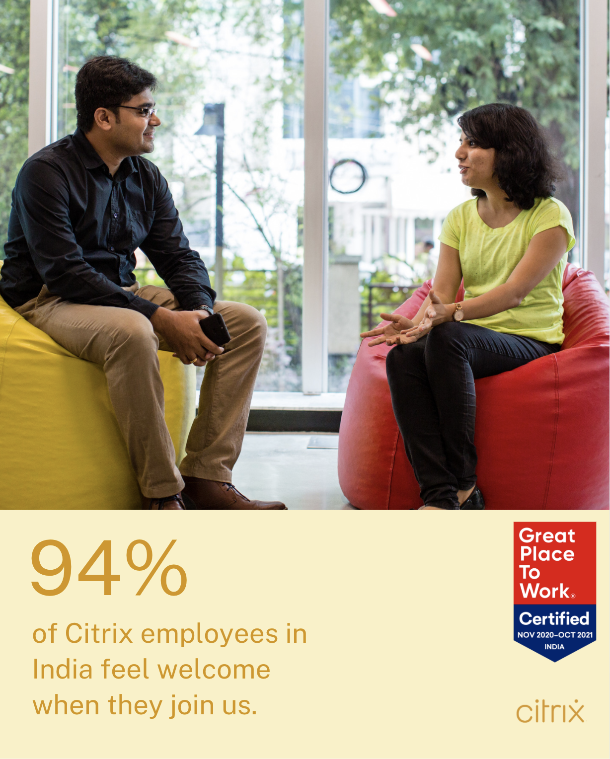 94% of our employees in India feel welcome when they join us