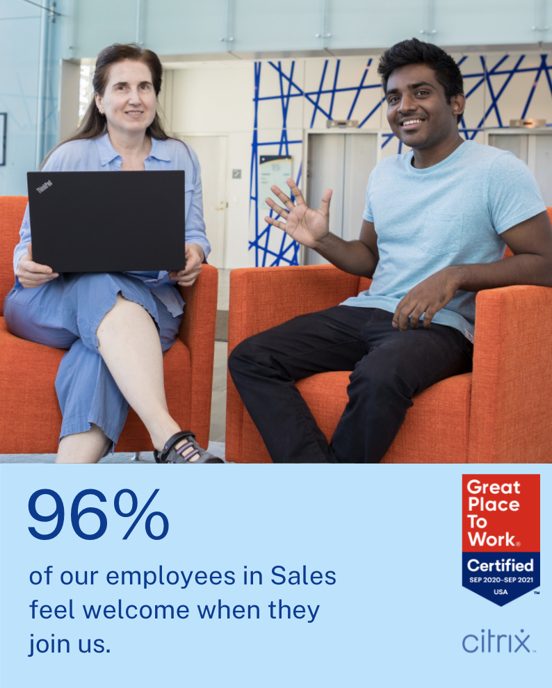 96% of our employees in Sales feel welcome when they join us.