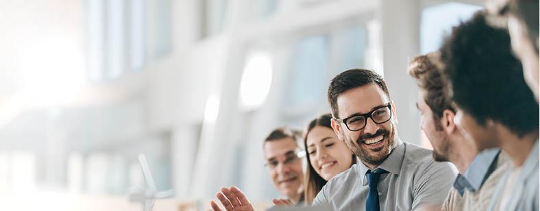 people in a sales meeting