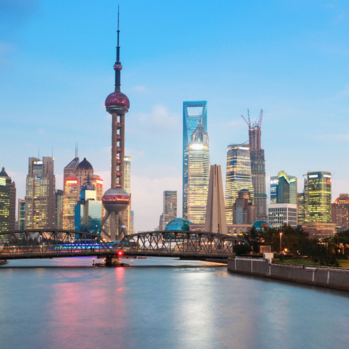 Skyline view of China.