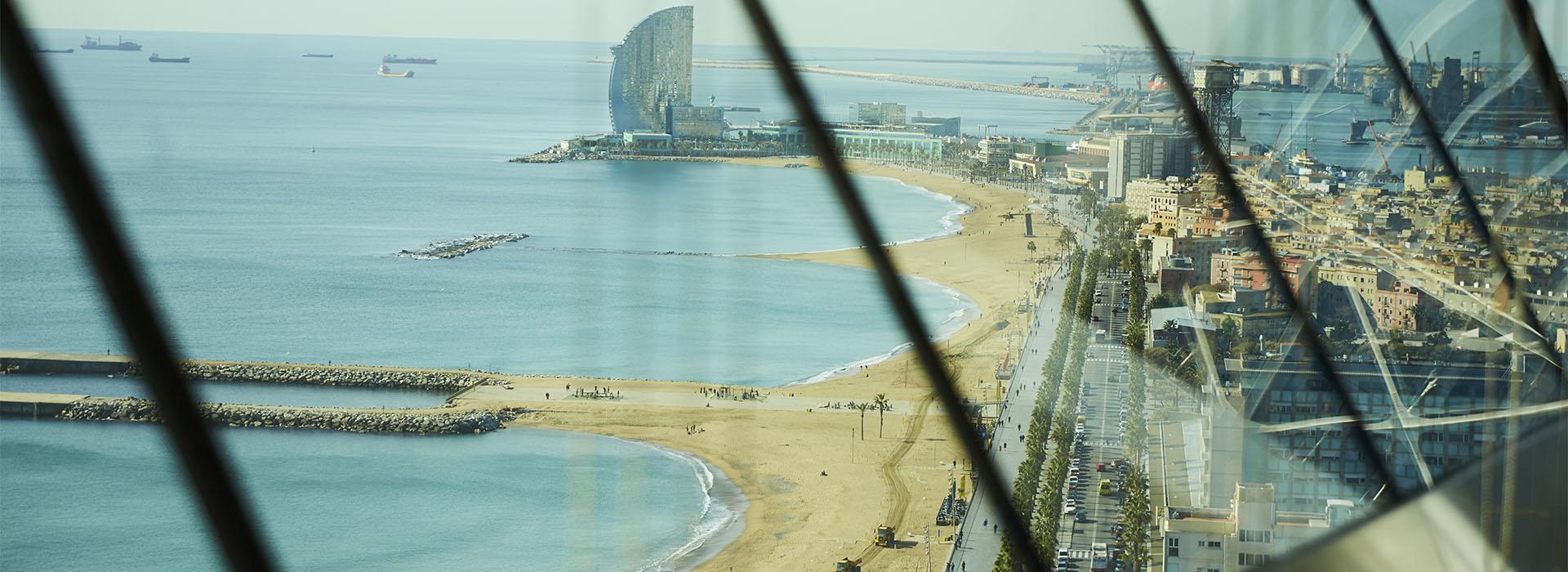 BCN beach view from windows