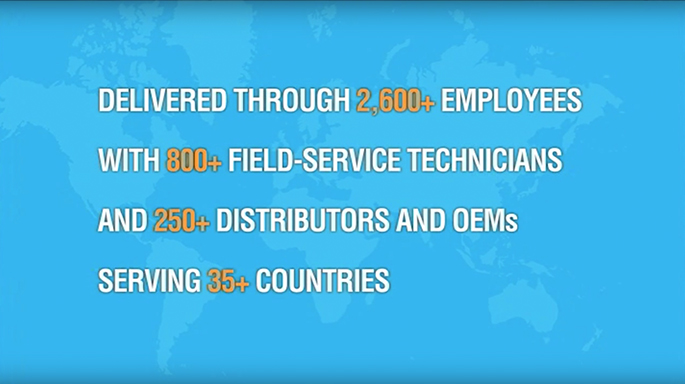 Delivered through 2600+ employees with 800+ field-service technicians and 250+ distributors and OEMs serving 35+ countries