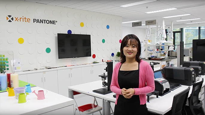 Photograph of x-rite Pantone associate in office