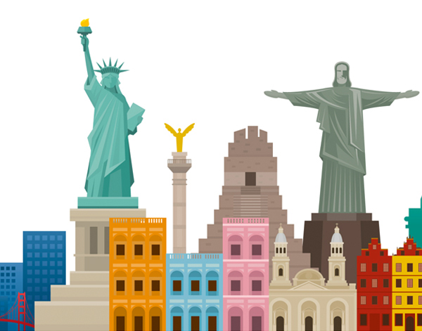 Illustration of North and South American buildings and landmarks