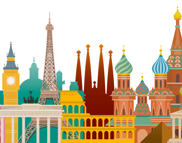 Illustration of European buildings