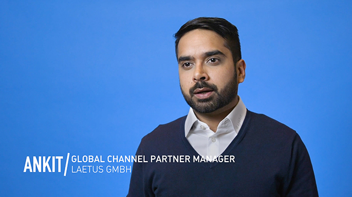 Photograph of Ankit global channel partner manager in front of blue background