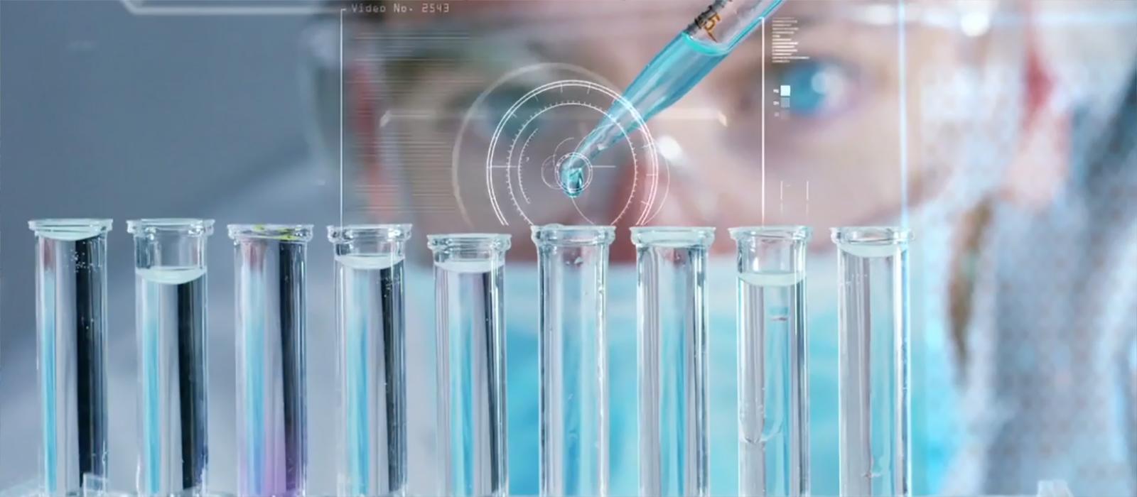 Phenomenex associate testing a liquid in test tube