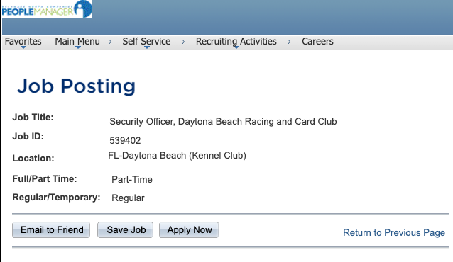 Internal Job Posting page