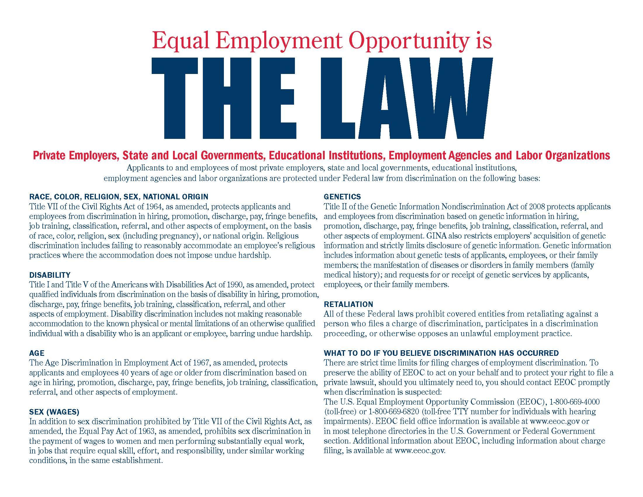 EEO is the Law Declarations