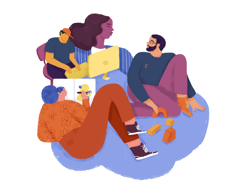 Abstract illustration celebrating diverse forms of collaboration: A person types at a computer, two people are talking as one builds with blocks, another draws an illustration on paper.