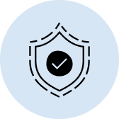 Abstract illustration of a 2 dimensional shield containing a checkmark, representing a sense of safety and security.