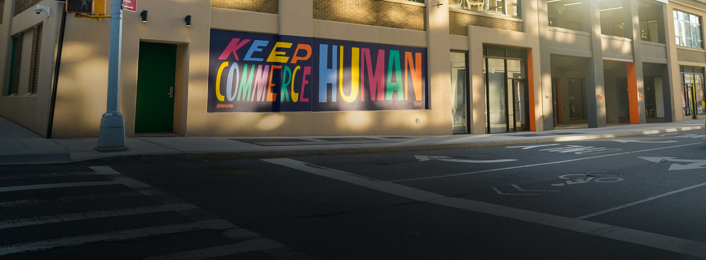 Mural at Etsy HQ proclaiming our mission to Keep Commerce Human