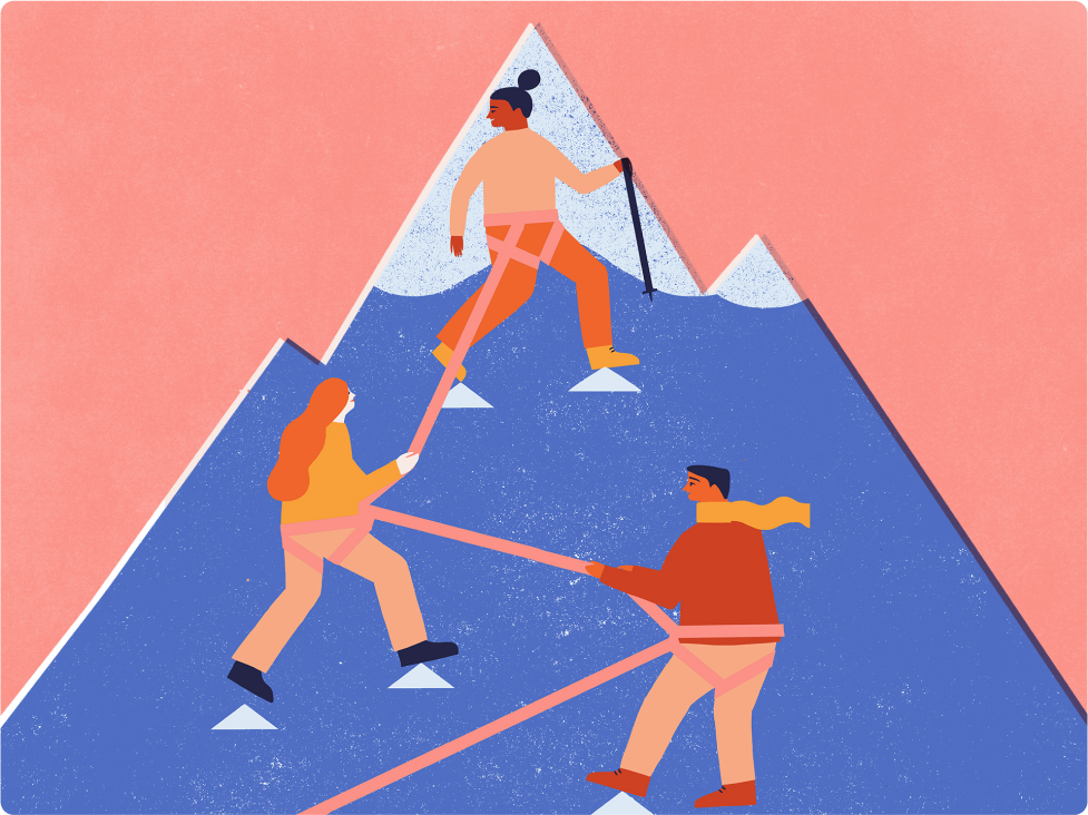 An illustration of a team of people helping each other climb a mountain.