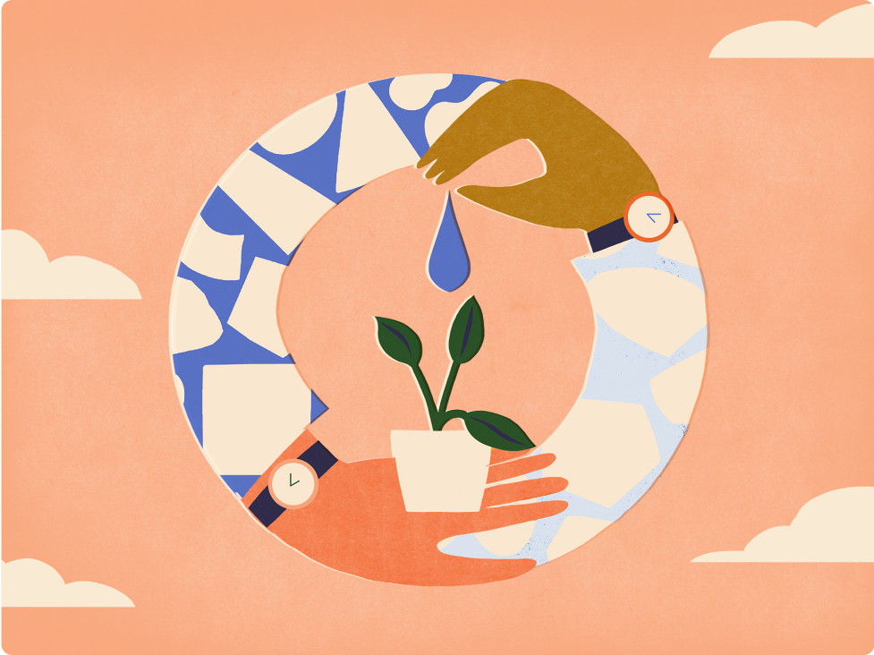 An illustration of two hands watering a plant to help it grow.