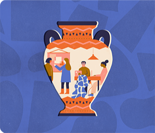 An illustration of a vase painted with different figures creating art.