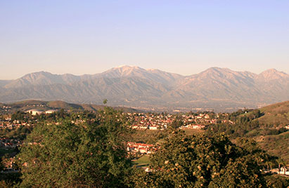 Mountains and view of Brea, California