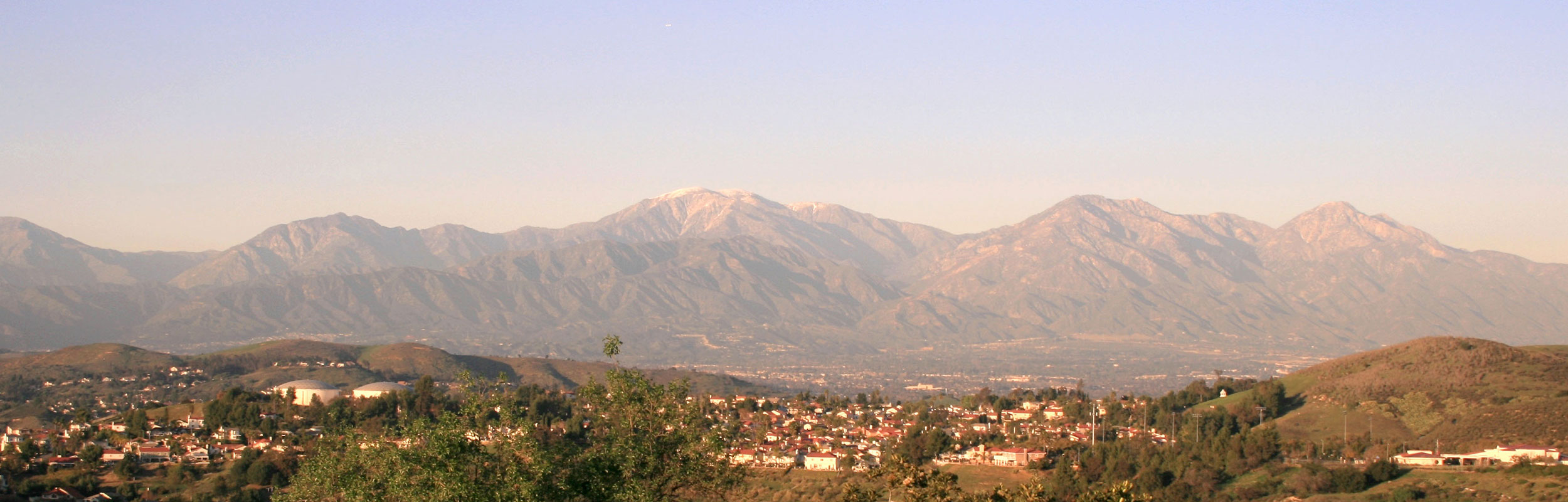 City and mountains view in Brea, California