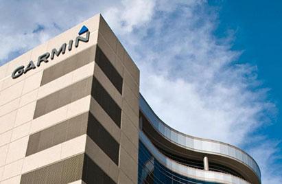 The Garmin logo visible on the tower at Garmin headquarters in Olathe, Kansas