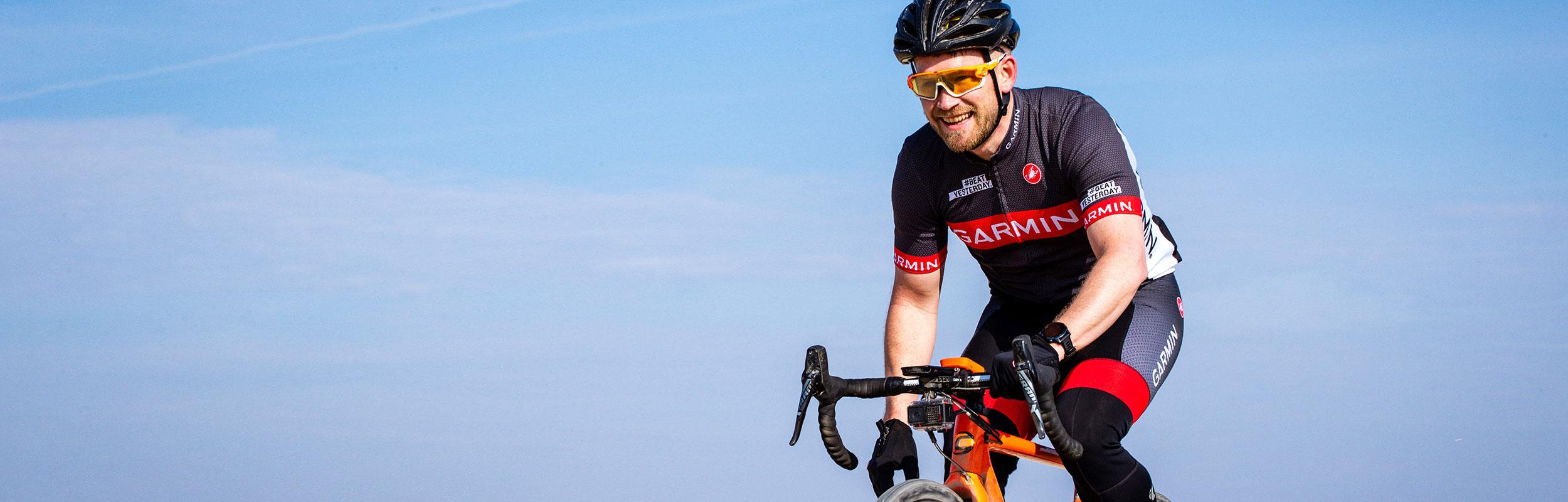 Garmin associate riding a bike