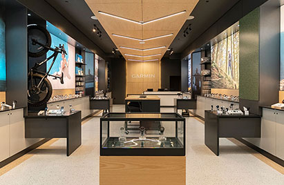 Display cases and interior of the Garmin Miami store